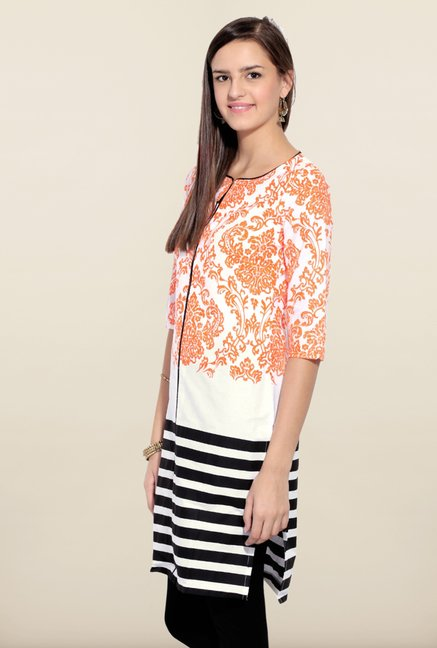 W Orange Printed Regular Fit Kurta