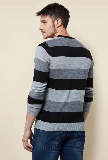 Lotto Grey & Black Striped Sweater