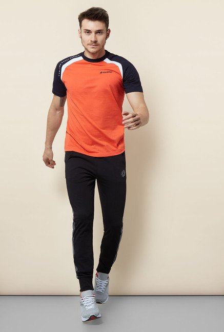 Lotto Orange Solid Sports T Shirt