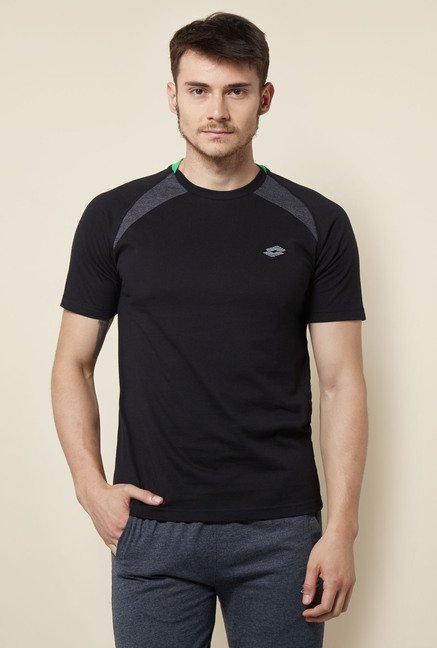 Lotto Black Solid Sports T Shirt