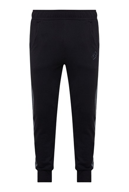 Lotto Black Solid Trackpant