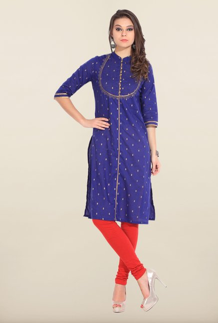 W Blue Cotton Kurta