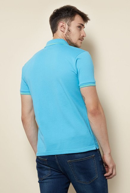Lotto Light Blue Solid Polo T Shirt