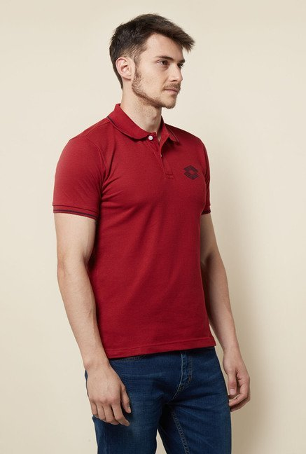 Lotto Brick Maroon Solid Polo T Shirt