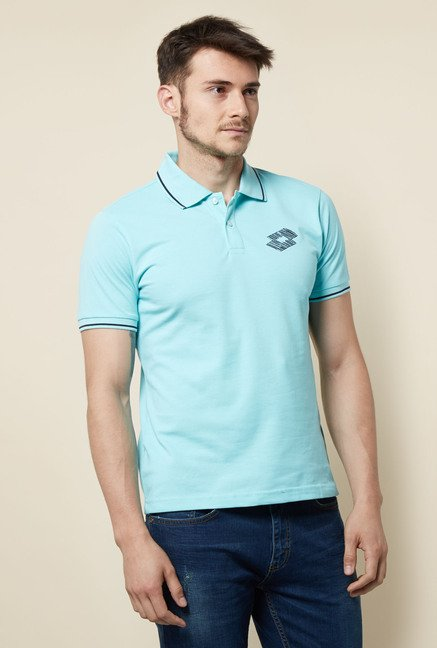 Lotto Sky Blue Solid Polo T Shirt