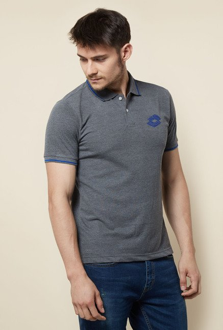 Lotto Grey Solid Polo T Shirt