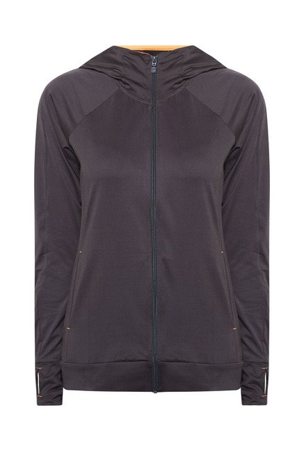 Lotto Grey Solid Hooded Sports Jacket