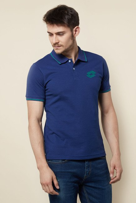 Lotto Dark Blue Solid Polo T Shirt
