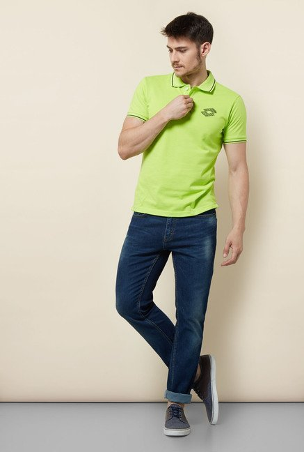 Lotto Lime Green Solid Polo T Shirt