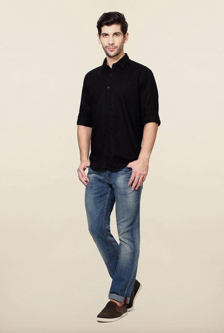 Van Heusen Black Solid Cotton Shirt