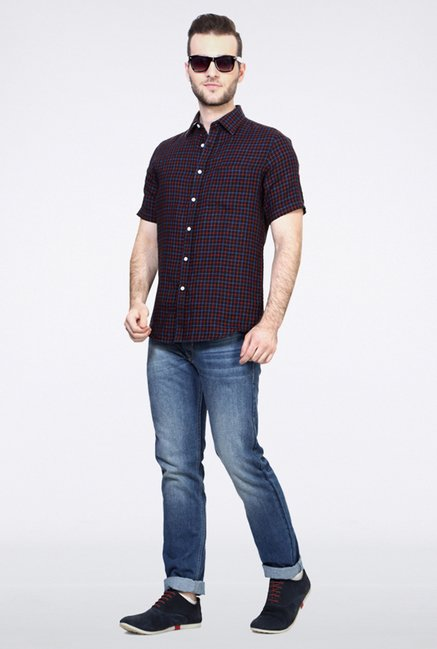Allen Solly Black Checks Casual Shirt