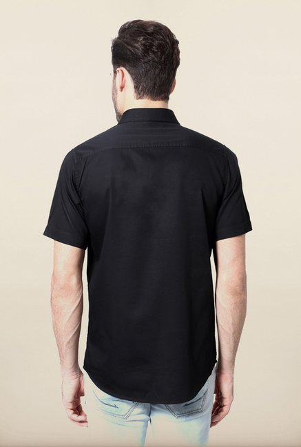 Allen Solly Black Solid Casual Shirt