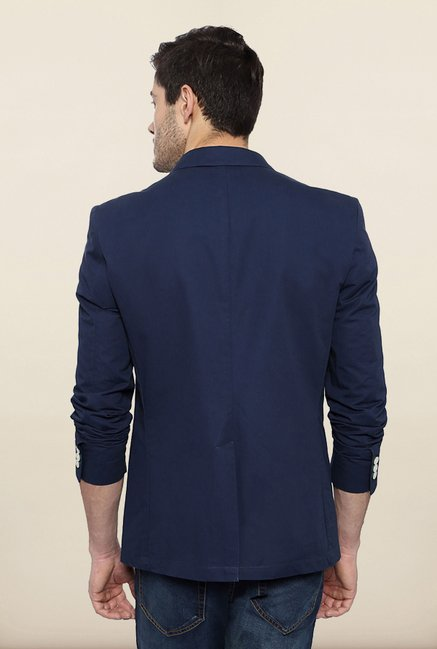 Allen Solly Blue Solid Blazer