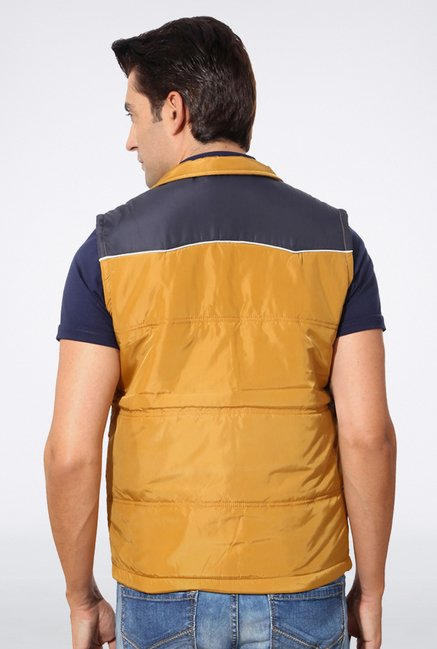 Allen Solly Navy & Mustard Gilet Jacket