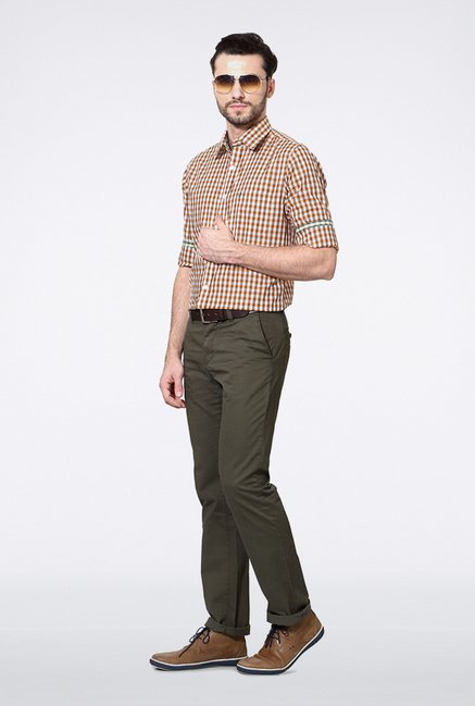 Allen Solly Brown Checks Casual Shirt