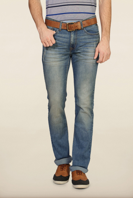 Van Heusen Blue Distressed Slim Fit Jeans