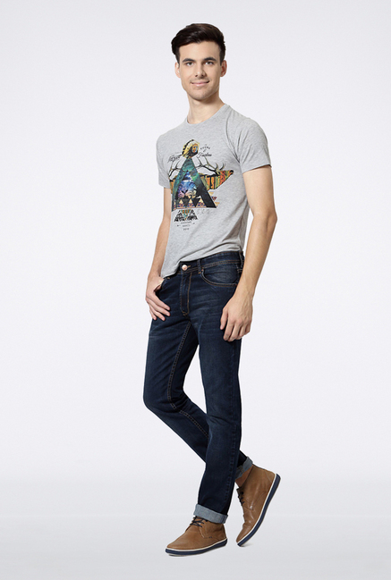 Peter England Navy Solid Jeans