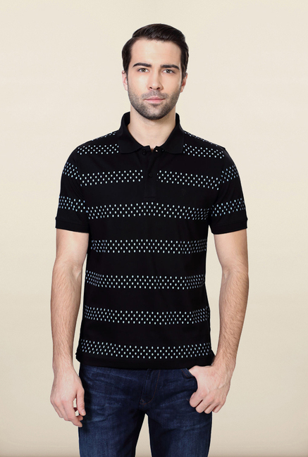 Van Heusen Black Striped T Shirt