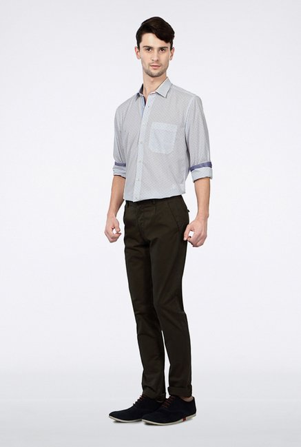 Allen Solly Olive Solid Casual Trouser