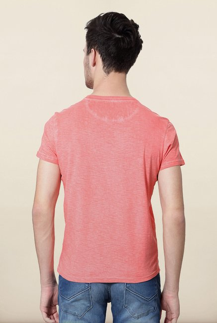 Allen Solly Peach Solid T shirt