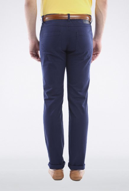 Allen Solly Blue Solid Casual Trouser