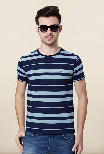 Allen Solly Navy Striped T shirt