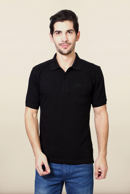 Van Heusen Black Solid T Shirt