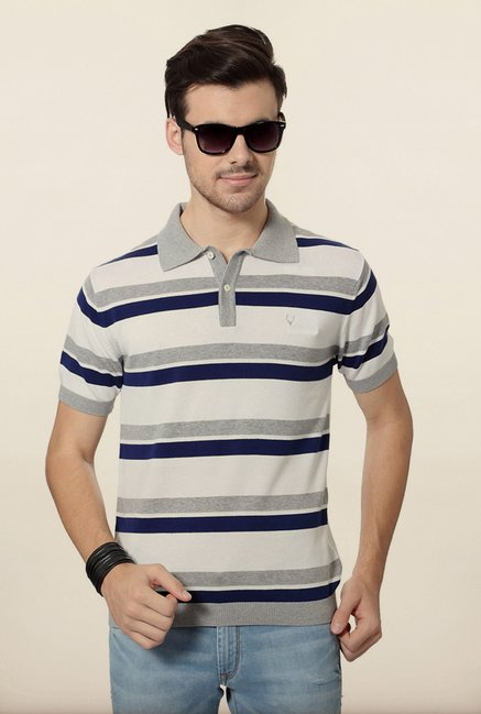 Allen Solly White & Grey Polo T shirt