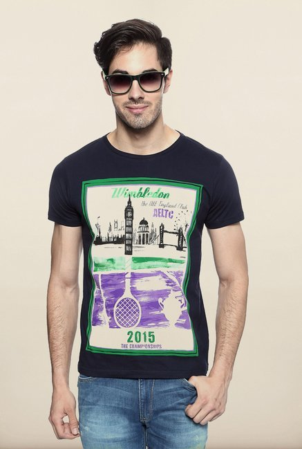 Allen Solly Navy Graphic T shirt