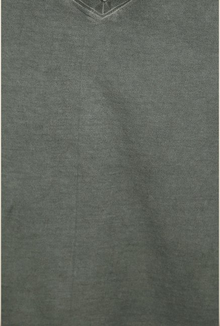Peter England Grey Solid T shirt