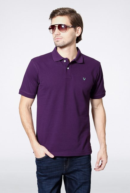 Allen Solly Purple Solid Polo T shirt