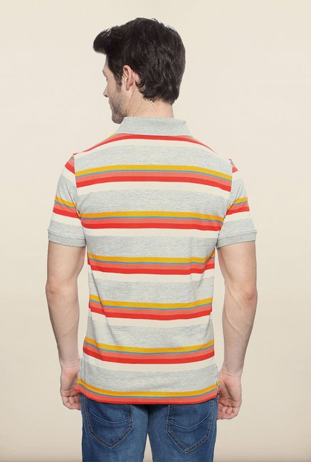 Peter England Grey & Orange Polo T shirt