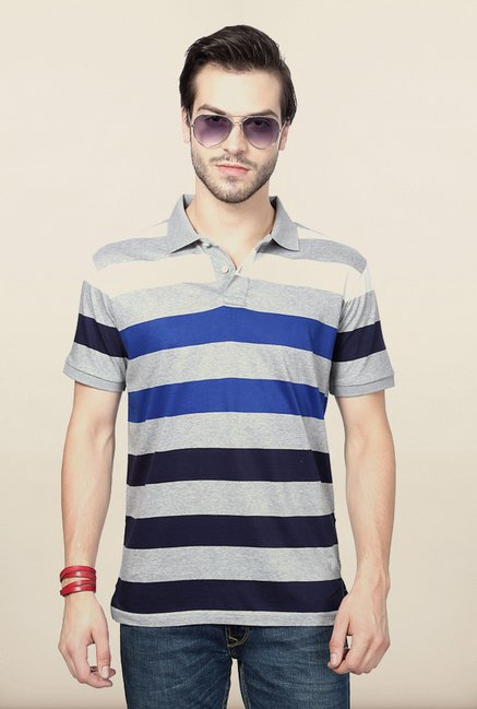 Allen Solly Grey Striped Polo T shirt