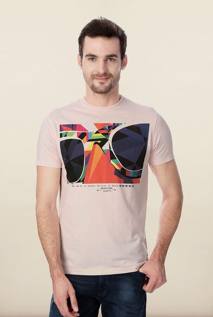 Peter England Pink Graphic T shirt