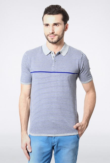 Peter England Grey & Blue Polo T shirt