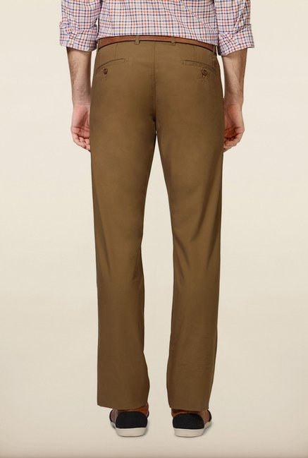 Van Heusen Khaki Solid Slim Fit Chinos