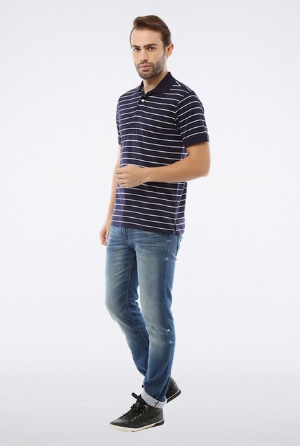 Allen Solly Navy & White Polo T shirt