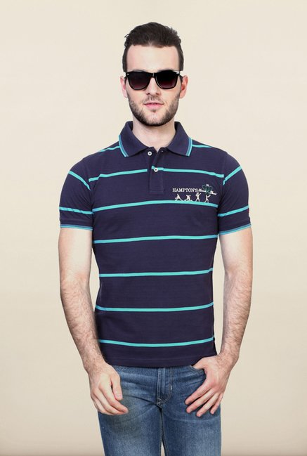 Allen Solly Navy Striped Polo T shirt