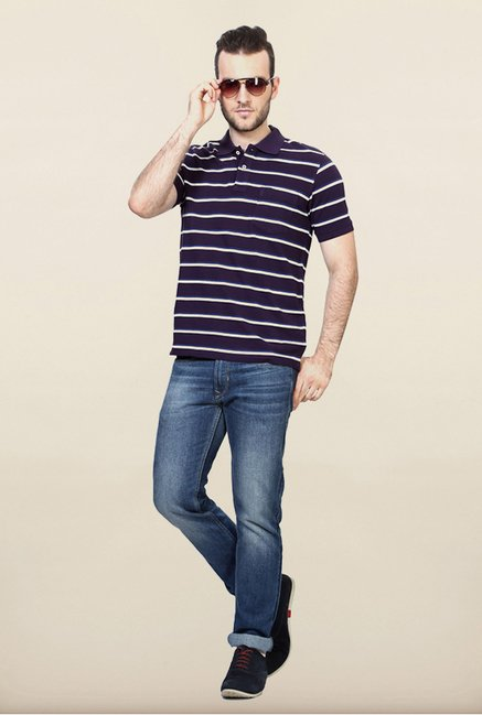 Allen Solly Purple Striped Polo T shirt