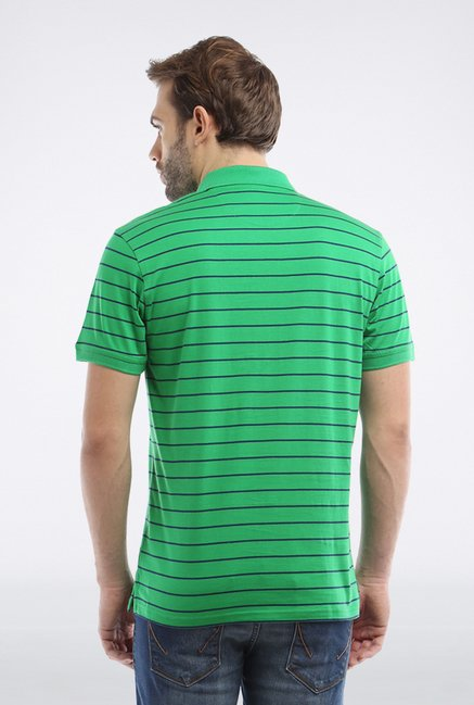 Allen Solly Green Striped Polo T shirt