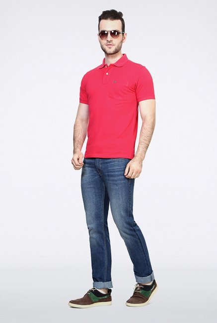 Allen Solly Pink Solid Polo T shirt