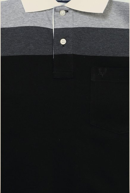 Allen Solly Black Solid Polo T shirt