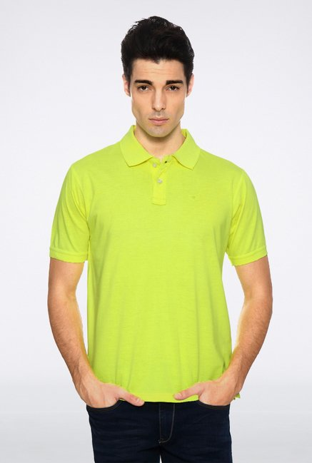 Peter England Green Solid Polo T shirt