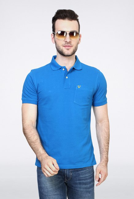 Allen Solly Blue Solid Polo T shirt