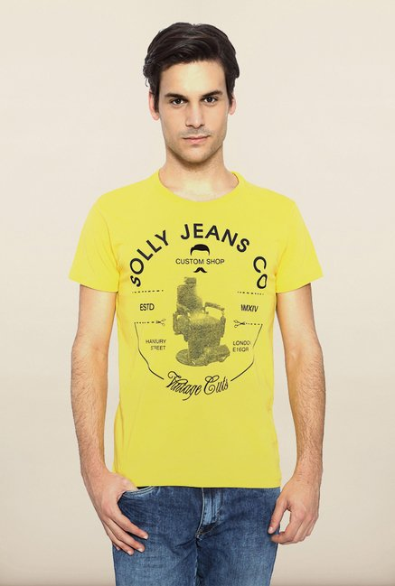 Allen Solly Yellow Graphic T shirt