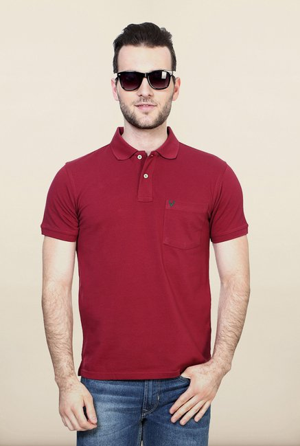 Allen Solly Maroon Solid Polo T shirt