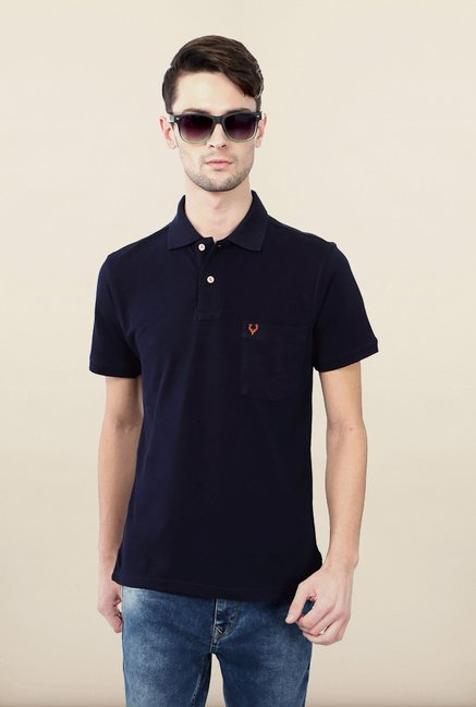 Allen Solly Navy Solid Polo T shirt