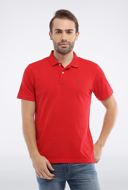 Allen Solly Red Solid Polo T shirt