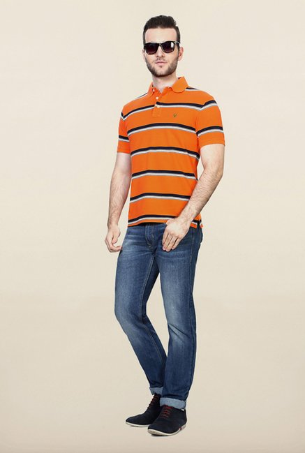 Allen Solly Orange Striped Polo T shirt