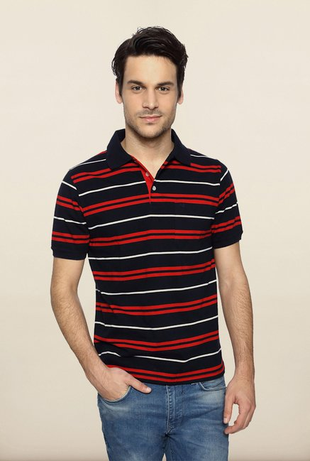 Peter England Red & Black Polo T shirt